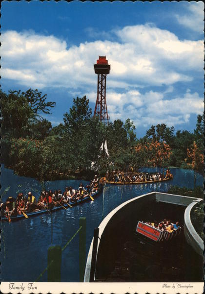 Six Flags over Texas, Run-A-Way Mine Train, Caddo War Canoes, Observation Tower Dallas