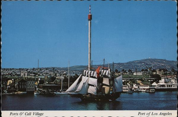 Ports O'Call Village, Los Angeles Harbor, The Buccaneer Queen ship in full sails California
