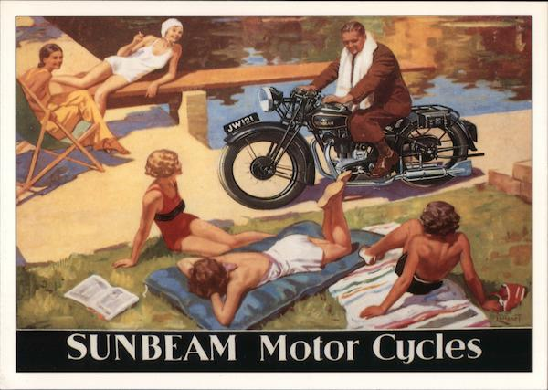 Sunbeam Motor Cycles. Painting of man on motorcycle by pool of girl sunbathers.
