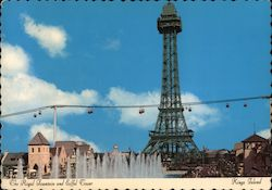 Royal Fountain and Eiffel Tower - King's Island Postcard