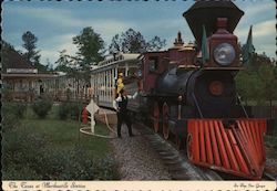 Six Flags over Georgia. The Texas train ride at Marthasville station in the park. Postcard