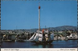 Ports O'Call Village, Los Angeles Harbor, The Buccaneer Queen ship in full sails Postcard