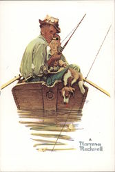 Fish Finders by Norman Rockwell Postcard