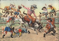 Cat Rodeo. Cat riding saddled goat. Cats dressed in western gear
