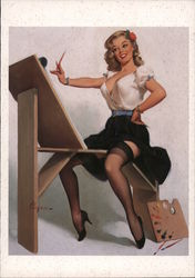 The Right Touch, painting by Gil Elvgren Postcard