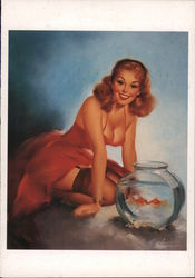 Edward Runci: A perfect pair, 1950. Two goldfish and red head pinup girl Postcard