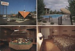 Howard Johnson's buffet, pool, bedroom Postcard