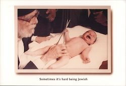 Sometimes it's hard being Jewish. Baby getting circumcised with big scissors. Postcard