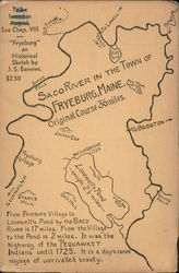 Historical map of the Saco River in Fryeburg, Maine Postcard