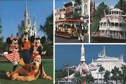 Magic Kingdom. Minnie, Goofy, Mickey, Goofy posed in front of Cinderella's Castle, future world, paddle boat, trolley Postcard