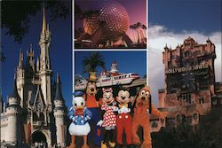 Cinderella Castle, Spaceship Earth, Hollywood Tower, Mickey & Friends Postcard