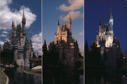 Cinderella castle from morning to evening - Walt Disney World Postcard