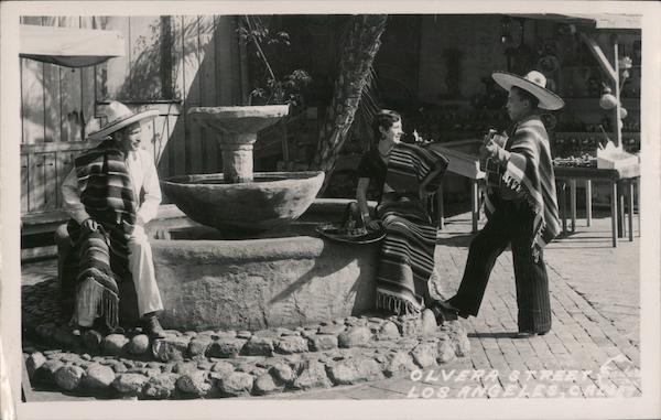 Olvera Street, Los Angeles - guitarist, man, and woman in serapes and sombreros California