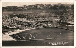 Bird's Eye View of Santa Barbara and Harbor Postcard