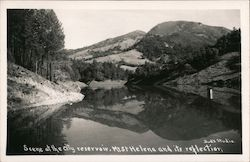 Scene at the city reservoir. Mt. St. Helena andn its reflection Postcard