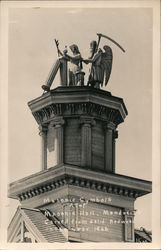 Masonic Symbols atop Masonic Hall, Carved from Redwood in 1866 Postcard