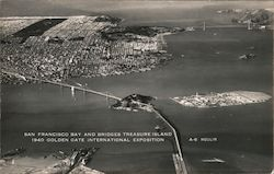 San Francisco Bay and Bridges, Treasure Island - 1940 Golden Gate International Exposition Postcard