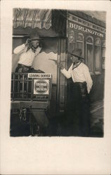 Posing as train robber and passenger in Old West style photo Postcard