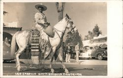 Leo Carrillo on horse Santa Barbara Fiesta 1941 Postcard