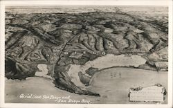 Aerial View San Diego and San Diego Bay Postcard
