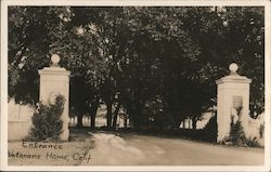 Entrance to Veterans Home, Calif. Postcard