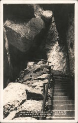 Looking up stairway in The Caves at Pinnacle's National Monument Postcard