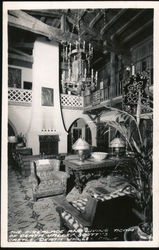 The Fireplace and living room of Death Valley Scott's Castle Postcard