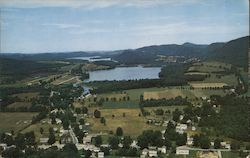 Aerial view of Lake St. Catherine, town of Wells, mountains Postcard