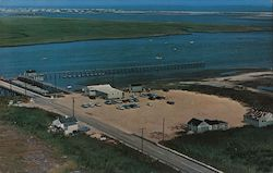 Dad's Place bird's eye view of pier, boats Postcard