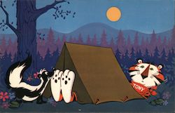 Tony the Tiger camping, skunk - Camp postcard checklist
