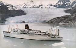 Pacific Far East Line, SS Mariposa and SS Monterey, Cruising Glacier Bay, Alaska Postcard