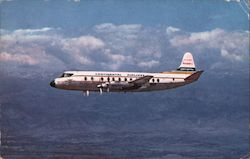 Continental Airlines Viscount II, plane flying over Colorado Postcard