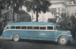 Southeastern Greyhound Lines Blue bus, map Postcard