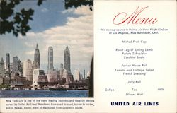 United Air lines Menu. View of Manhattan from Governors Island. Postcard