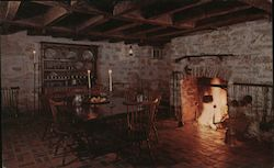 Daniel Boone Home, dining room, fireplace Postcard