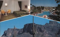 Sunburst Hotel, pool, room, cactus and mountains Postcard