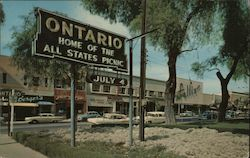 Euclid Avenue. Ontario home of the All States Picnic Sign, Rexall Drugs, Parking meters Postcard