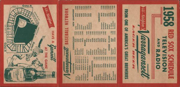 1958 Red Sox Schedule Television and Radio, map of stadium Boston Massachusetts
