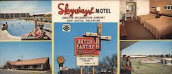 Skyways Motel and Dutch Pantry Restaurant, pool, room Large Format Postcard