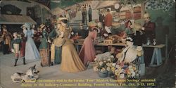 "A turn-of-the-century visit to the Fresno ""Free"" Market, Guarantee Savings' animated display Large Format Postcard"