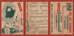 1958 Red Sox Schedule Television and Radio, map of stadium Other Ephemera