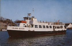 Island Queen passenger vessel sails away from Pier 45 Falmouth Harbor Postcard