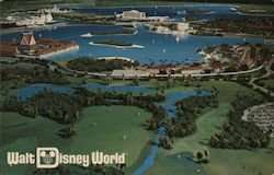 Pre-Opening  Aerial view of themed resorts around the lagoon, monorail Postcard