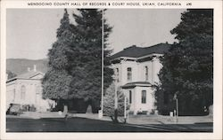 Mendocino County hall of Records & Court House Postcard