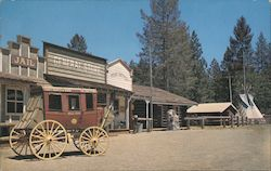 Ghost Mountain Ranch, stagecoach, tepee, jail, general store Postcard