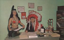 Bruce P. Currie - Pub. Acct. - Indian maiden and bob has headress Postcard