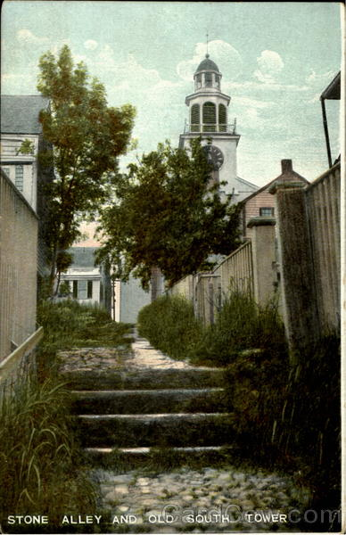 Stone Alley And Old South Tower Nantucket Massachusetts