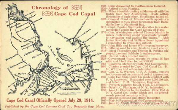 Chronology Of Cape Cod Canal Opened July 29, 1914 Massachusetts