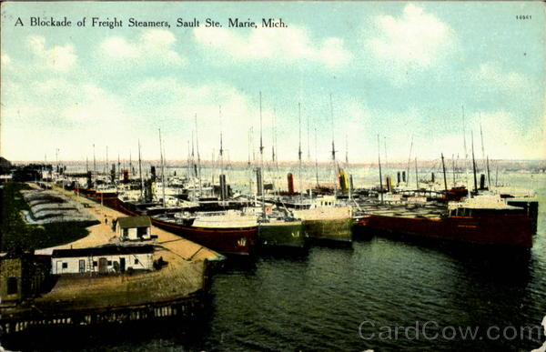 A Blockade Of Freight Steamers, Sault Ste Marie Michigan