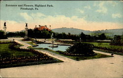 Entrance And Flowers , Highland Park Postcard